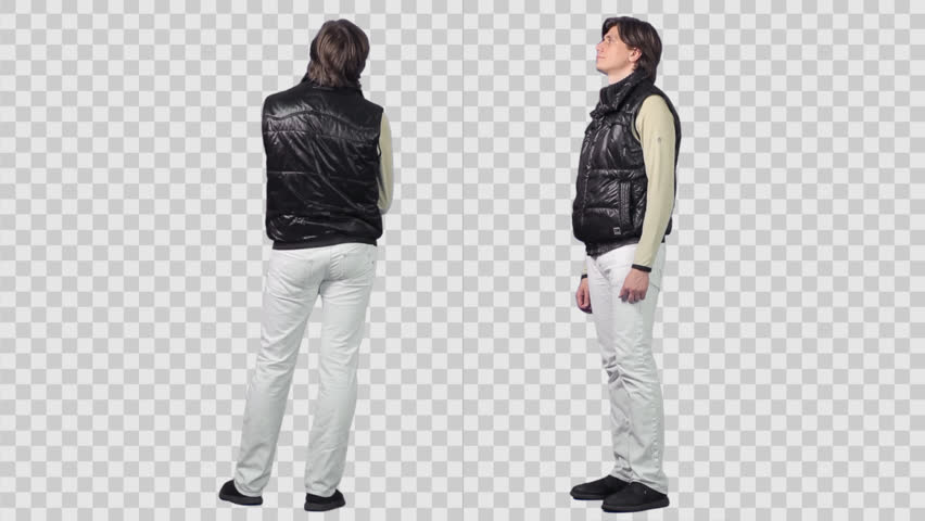 Standing male with phone in black sleeveless jacket. Two variants. Footage with alpha channel. File format - mov. Codec - PNG+Alpha Combine these footage with other people to make crowd effect