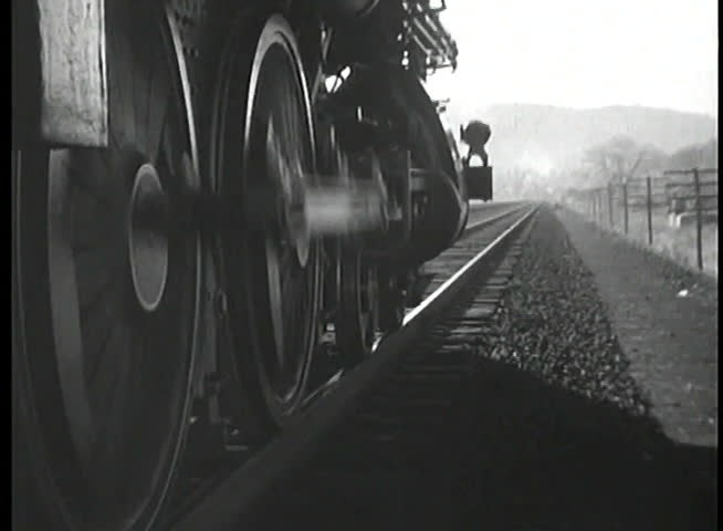 Close-up of steam train moving forward