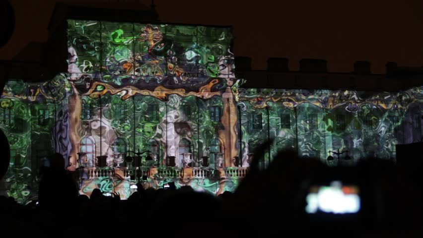 Russia, Saint-Petersburg, November 5, 2016, 3D-mapping the light show on St. Isaac's Square People taking photos of 3d light show #21093361