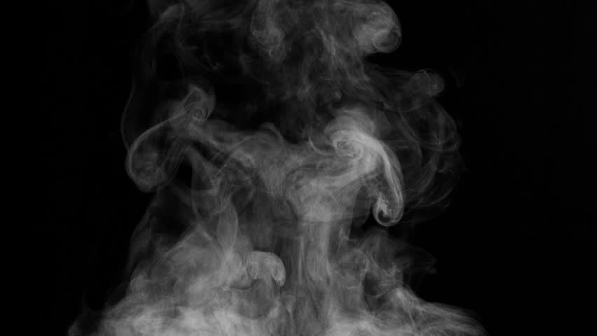 White Steam Rises from the Pan. White Steam rises from a large pot that is behind the scenes. Black background. Filmed at a speed of 240fps