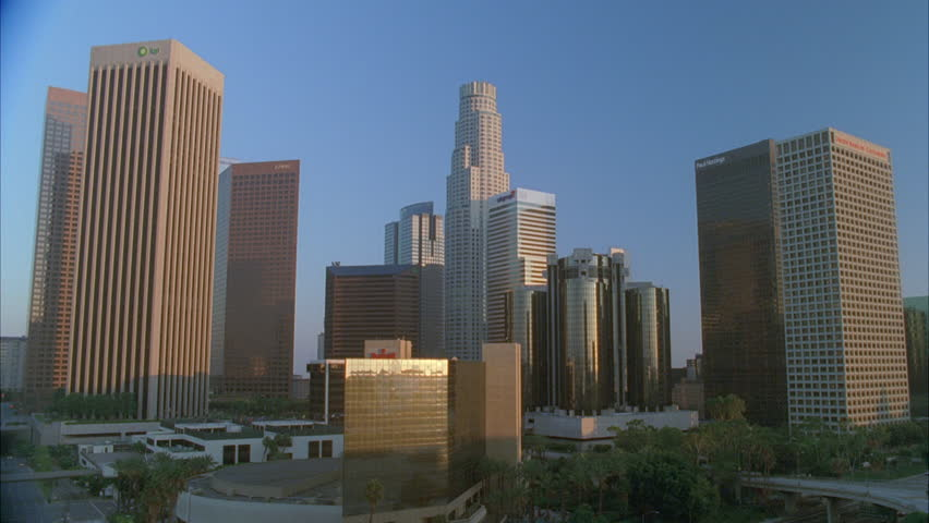Day downtown Los Angeles office buildings skyline, sun bldgs. | Shutterstock HD Video #21113791