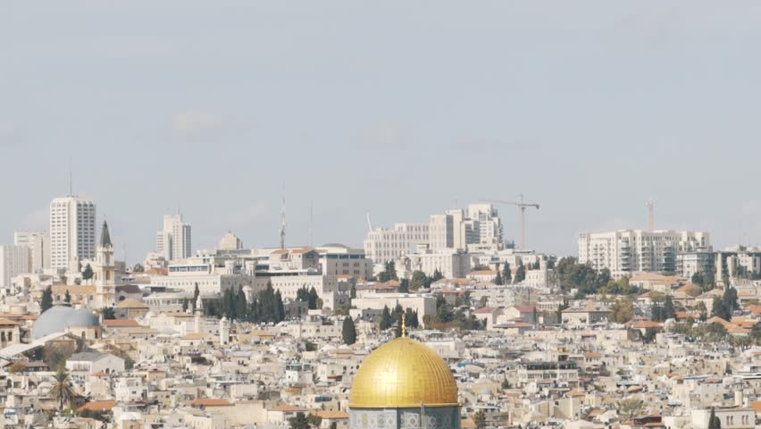Panoramic view to Jerusalem Old city and the Temple Mount, Dome of the Rock and Al Aqsa Mosque from the Mount of Olives in Jerusalem, Israel - Tilt Down