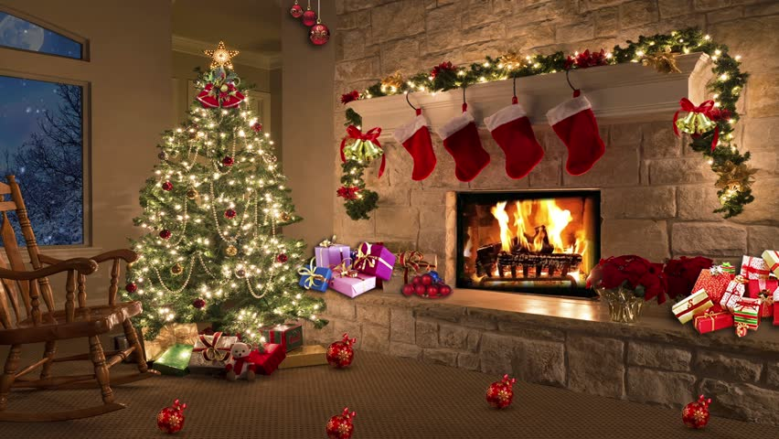 christmas room christmas tree by the fireplace stock footage video 4298588 shutterstock. Black Bedroom Furniture Sets. Home Design Ideas