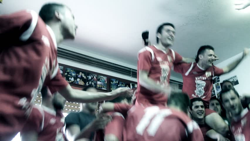RIJEKA, CROATIA MARCH 20: Soccer players of NK Grobnican celebrating a victory on March 20, 2012 in Rijeka.