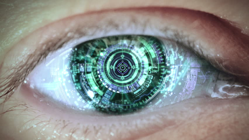 Cybernetic brain. Zooming through eye.
