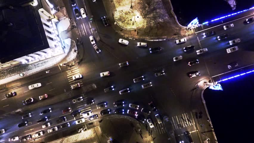 Rise up with the rotation around the axis of crossroad with cars and a bridge in Saint Peters burg | Shutterstock HD Video #21218491