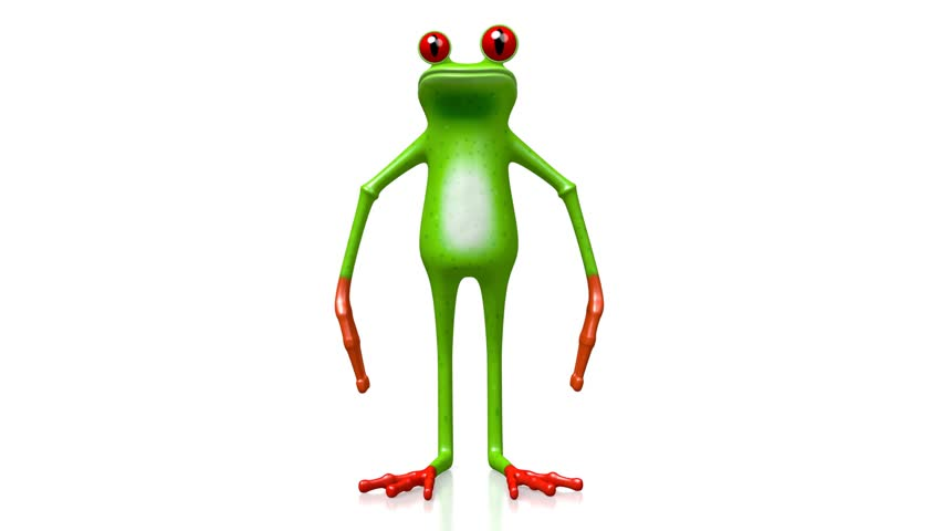 Rain-forest green frog jumping - 3D animation/ 3D rendering.