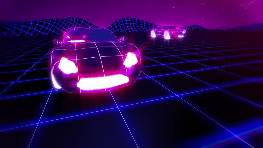 Car race retro futuristic seamless animation. Synthwave background.