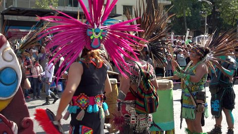 MEXICO CITY, MEXICO - OCTOBER 29, 2016: Day of the Dead Parade Aztec Warriors Dancing