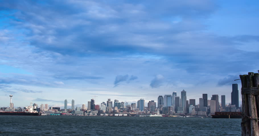 Seattle Skyline with cloudscape. Time Lapse filmed from West Seattle. | Shutterstock HD Video #21283429