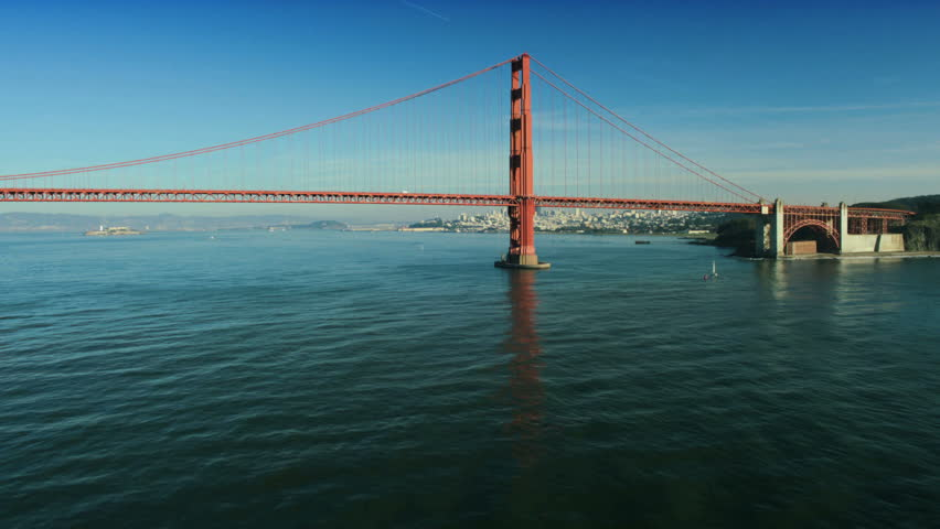 Aerial low angle view from the water of the Golden Gate Bridge, San Francisco, California, North America, USA