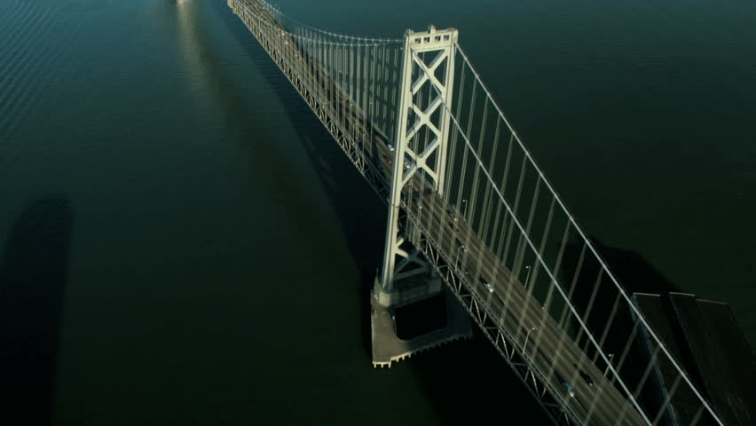 Aerial high angle vertical view of vehicles on the Oakland Bay bridge, San Francisco, California, America, USA