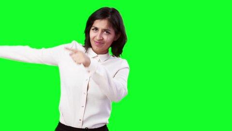 bb9926b12c8 Стоковое видео «Business Woman Hold Hands Palms» (абсолютно без ...