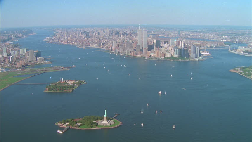 day aerial New York city with World Trade Center WTC, Statue Liberty, Ellis Island #21319081