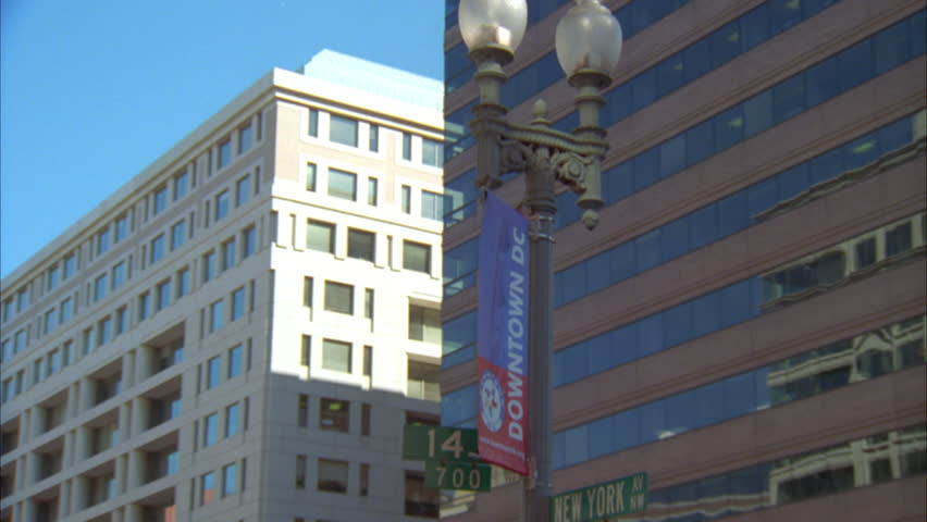 Day Tilt Up Right Banner Downtown DC Light Post Tight Raked Right Tall  Modern Glass Office