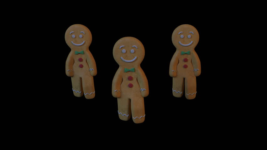 Gingerbread Dancers - gangnam style. 3D animation of funny, hot and sweet cookie boys dancing for holiday and kid event, show, VJ, party, music, website, banner, dvd.
