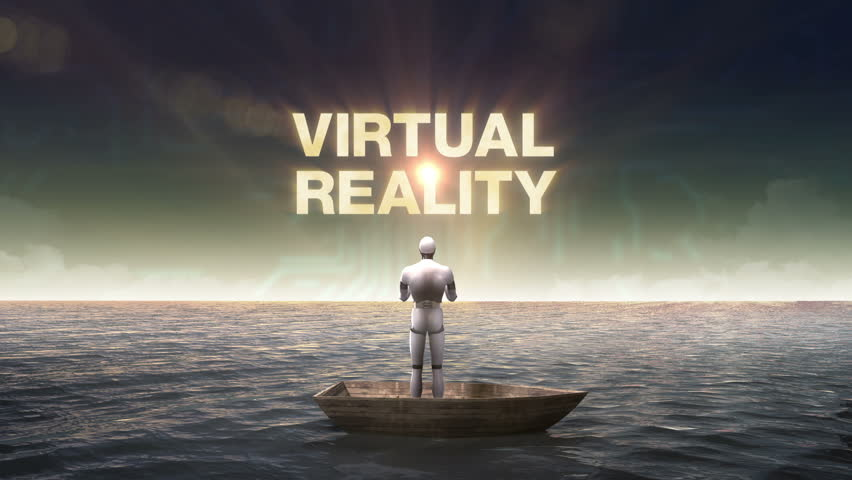 Rising typo 'VIRTUAL REALITY', front of Robot, cyborg on a ship, in the ocean, sea.