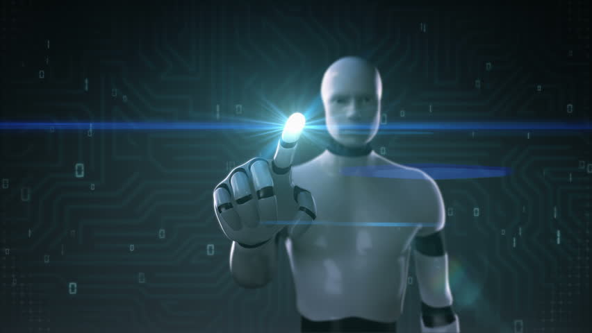 Robot, cyborg touching screen, artificial intelligence, computer technology, humanoid science.1.