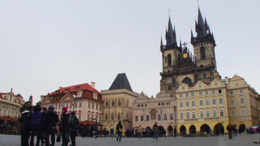 WIDE SHOT, Time lapse, Old Town Square Prague, Czech Republic