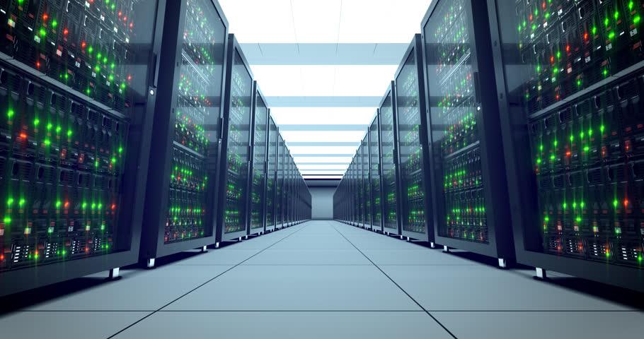 Servers racks.  Modern datacenter. Cloud computing. 4k UHD. Server in datacenter. Cloud computing data storage 3d rendering. 4k animation | Shutterstock HD Video #21364708