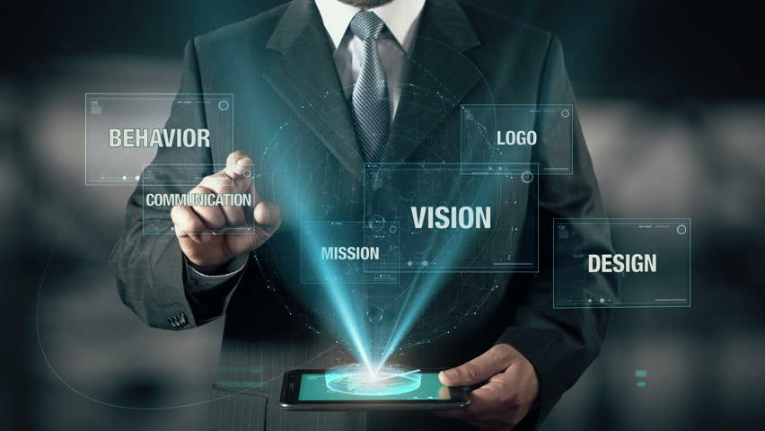 Businessman with Corporate Identity concept choose Communication from Behavior Mission Vision Logo Design using digital tablet | Shutterstock HD Video #21400021