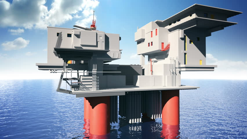 Construction of the oil platform animation