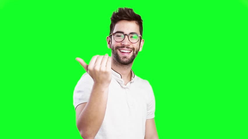 young man inviting someone on green screen