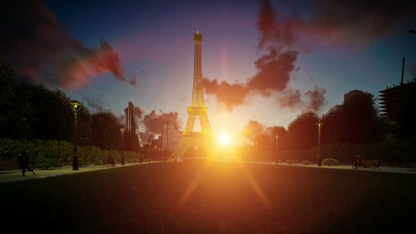 FRANCE, PARIS - NOVEMBER, 2016: [Illustrative editorial clip. Wonderful view Eiffel Tower in Paris at sunset, tilt] | Shutterstock HD Video #21431731