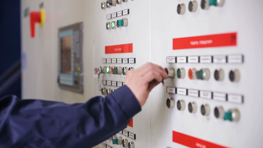 Control cabinets, displays at an electrical substation at power plant, factory.