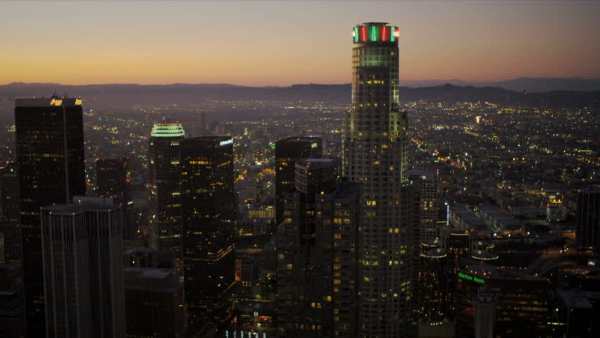 Aerial view at dusk of the city skyscrapers of Los Angeles