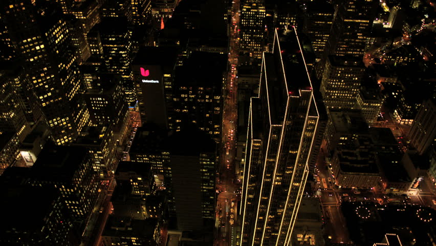 Aerial view of downtown skyscrapers San Francisco at night  | Shutterstock HD Video #2148581