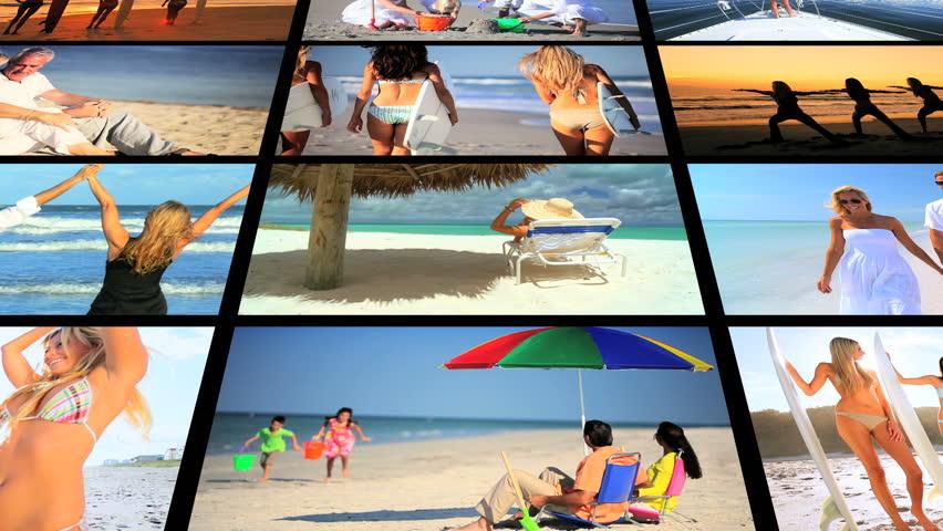 Montage lifestyle images people enjoying variety of recreation