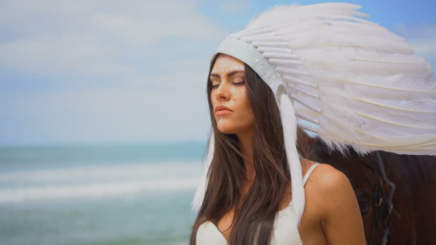 Sensual Brunette Woman Wearing White Bra, Tutu And Indian Feather Hat Standing With -6732