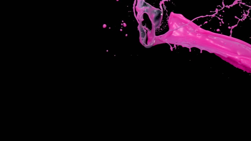 Vivid pink liquid splash in the air on black background shooting with high speed camera, phantom flex.