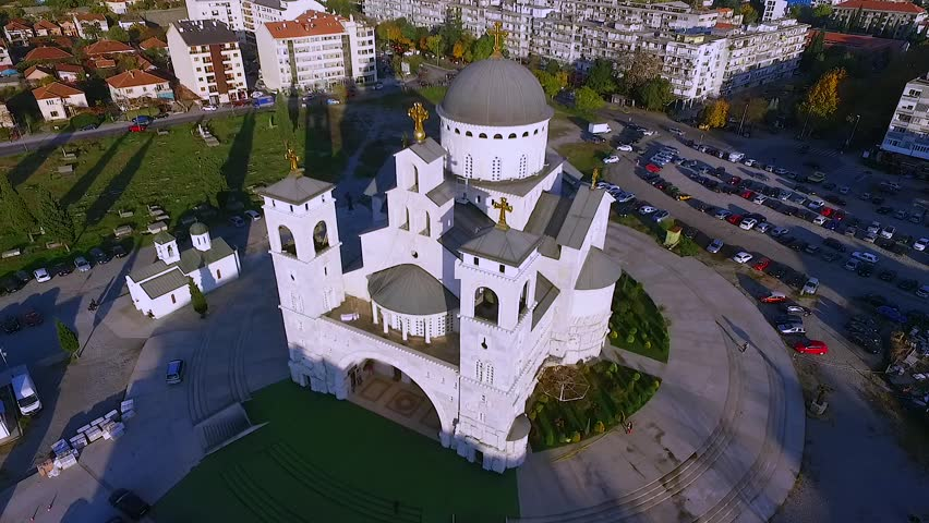 Drone Video - Cathedral of the Resurrection of Christ, Podgorica, Montenegro