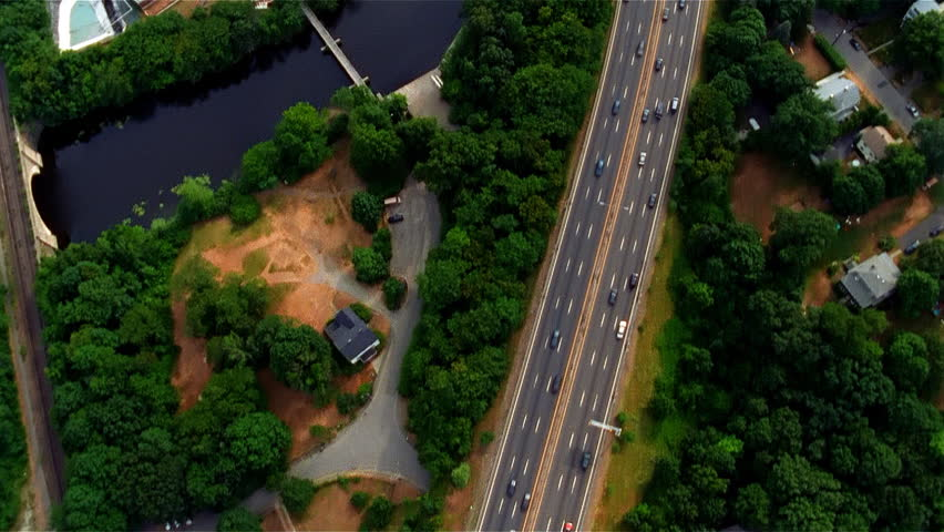 Aerial view of river and expressway near Boston