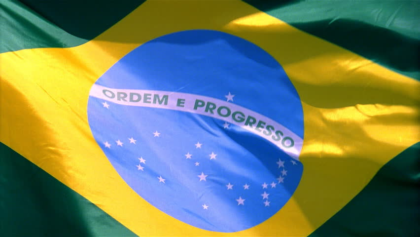 Closeup of Brazil flag