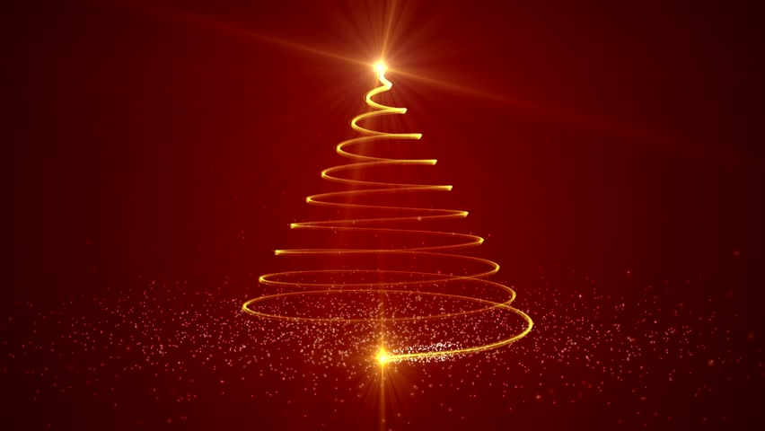 3d Animated Christmas Tree Over Red Background With Copy Space
