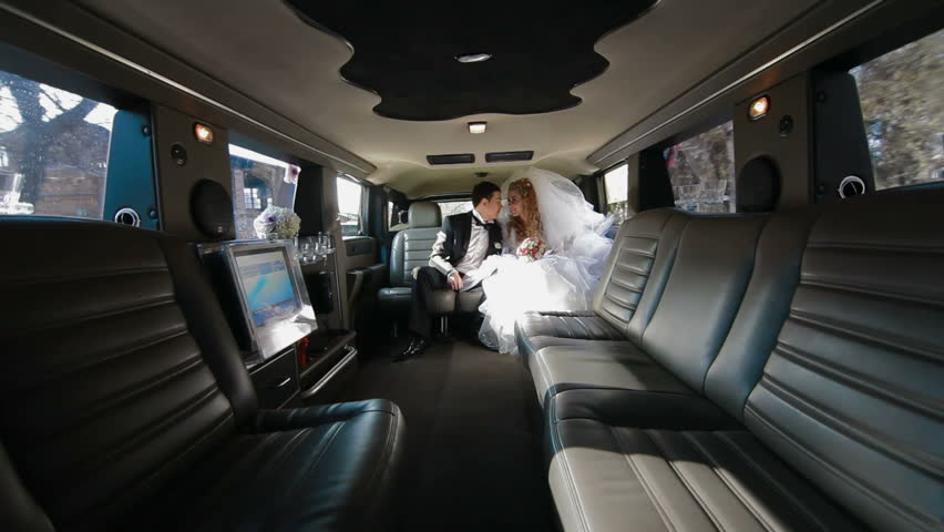 Just Married Young Couple Inside Limo