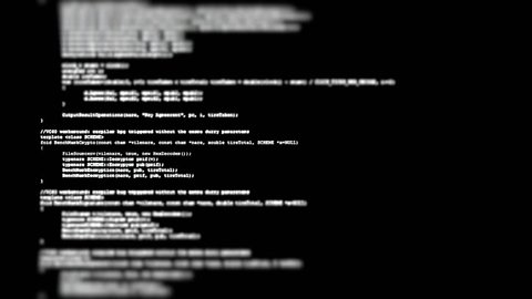Showing a flow of source code text (instructions for a computer program) on a PC screen in tilt-shift. White characters, black background.