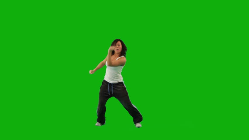 A hip-hop girl dancing against green screen
