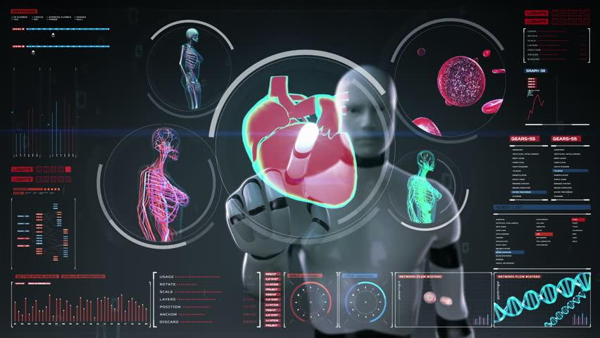 Robot, cyborg touching digital screen, Female body scanning blood vessel, lymphatic, heart, circulatory system in digital display dashboard. Blue X-ray view.