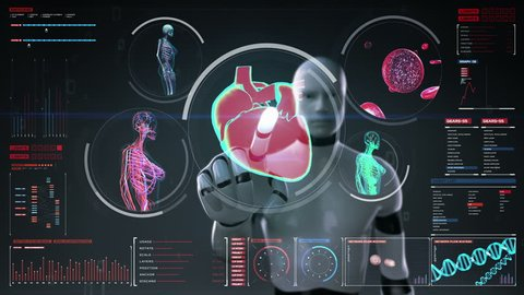 Robot, cyborg touching digital screen, Female body scanning blood vessel, lymphatic, heart, circulatory system in digital display dashboard. Blue X-ray view.