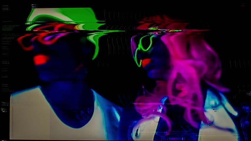 sexy young couple in fluorescent clothing under UV black light. this version has been distorted with video glitches and effects