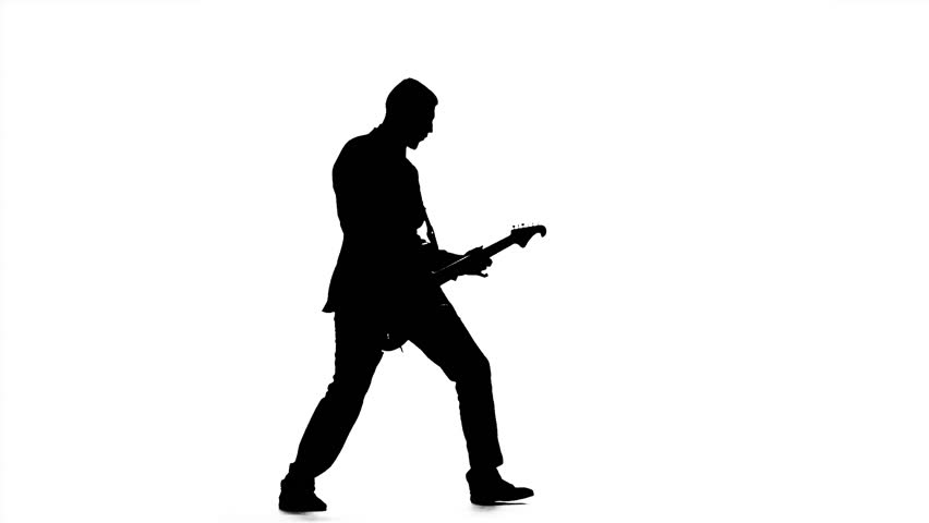 Silhouette Of Guitarist Playing Viewer. Electric Bass ...
