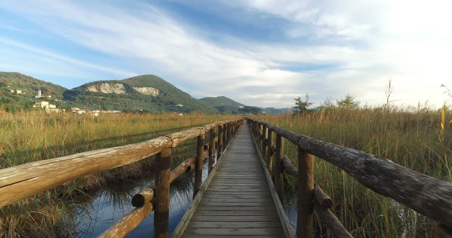 Forward walking first person view on the wooden bridge in the countryside.  | Shutterstock HD Video #21723391