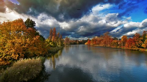 Lake in Hyde Park, London in autumn at sunset