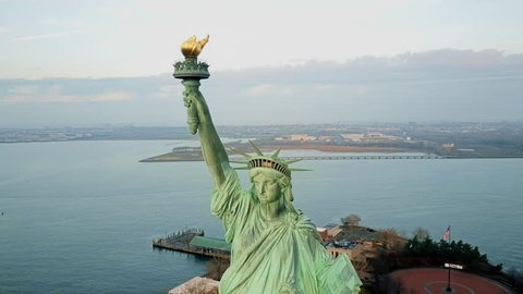 Aerial view Statue of Liberty 4K