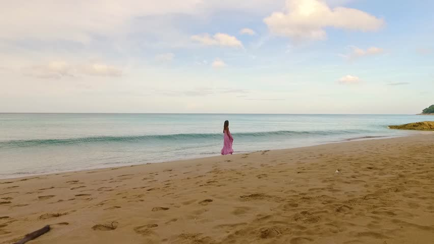 Aerial: A girl and waves on the beach. | Shutterstock HD Video #21789220