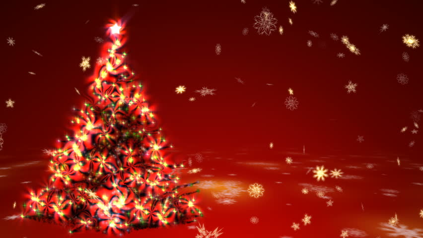 Red Christmas Background With Xmas Tree And Gifts: Elegant Christmas Tree Made By Golden Sparkling Glitters